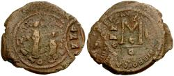 Ancient Coins - *Sear 805* Byzantine Empire Heraclius Æ Follis / Unique overstriking on both sides