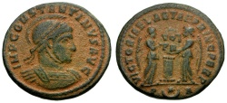 Ancient Coins - Constantine I the Great Æ3 / Two Victories with Shield