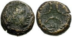 Ancient Coins - Bruttium. Kroton Æ16 / Three Crescents