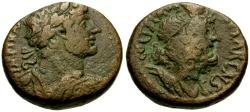 Ancient Coins - Hadrian, Judaea, Samaria Caesarea Maritima Æ22 / Lindgren Plate Coin