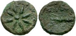 Ancient Coins - Kings of Thrace (Odrysian). Seuthes III. Seuthopolis Æ13 / Star and Thunderbolt