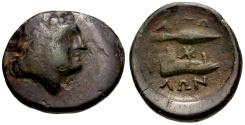 Ancient Coins - Aetolian League Æ20 / Spear Head and Jawbone