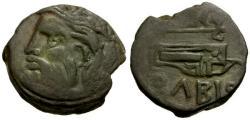 Ancient Coins - Scythia. Olbia Æ22 / River god / Bow and Axe