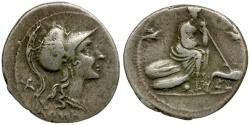 Ancient Coins - 115-114 BC - Roman Republic. Anoymous AR Denarius / Roma