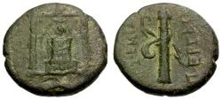 Ancient Coins - aVF/VF Pamphylia, Perge Æ16 / Statue of Artemis / Bow and Quiver