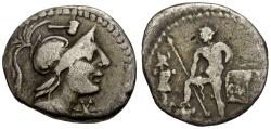 Ancient Coins - 96 BC - Roman Republic. C. Malleolus AR Denarius / Warrior and Trophy