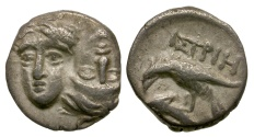 Ancient Coins - Moesia. Istros AR 1/4 Drachm / Inverted Heads