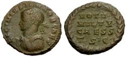 Ancient Coins - aVF/VF Licinius II as Caesar Æ3 / Votive Wreath