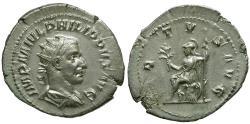 Ancient Coins - Philip I AR Antoninianus / Virtus seated