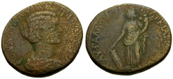 Ancient Coins - Plautilla, Wife of Caracalla, Moesia Inferior, Markianopolis Æ27 / Tyche