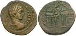 Ancient Coins - Elagabalus (AD 218-222). Phoenicia. Berytus Æ26 / Statue of Marsyas in Gateway