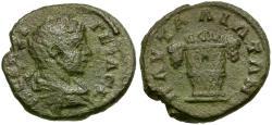 Ancient Coins - Geta as Caesar. Thrace. Pautalia Æ18 / Basket of Fruit
