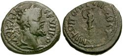 Ancient Coins - Septimius Severus. Moesia Inferior. Nikopolis ad Istrum Æ18 / Club and Snake