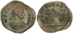 Ancient Coins - Aurelian (AD 270-275) Silvered Æ Antoninianus / Emperor and Woman