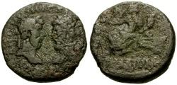 Ancient Coins - Marcus Aurelius and Lucius Verus, Phoenicia, Arados Æ22 / Tyche Seated on Rudder