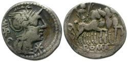 Ancient Coins - gF+/gF+ 130 BC - Roman Republic M. Vargunteius AR Denarius / Triumphal Quadriga