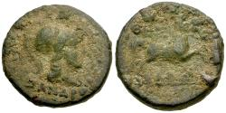 Ancient Coins - Thessaly. Thessalian League. Nyssandros, magistrate Æ19 / Horse