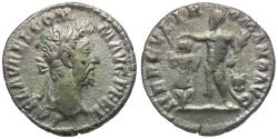 Ancient Coins - Commodus (AD 177-192) AR Denarius / Hercules Crowning Trophy