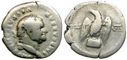Ancient Coins - Vespasian (AD 69-79) AR Denarius / Eagle on Cippus
