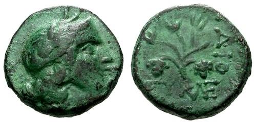 Ancient Coins - VF/VF Phrygia Dionysopolis AE17 / Grapes