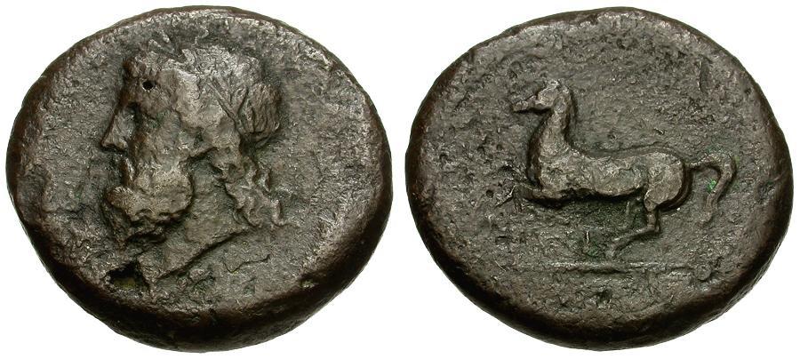 Ancient Coins - Sicily.  Syracuse.  Timoleon Æ Drachm or Dilitron / Horse