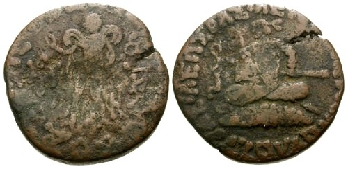 Ancient Coins - F/F Indo Scythian Kings Azes II AE Penta Chalkon