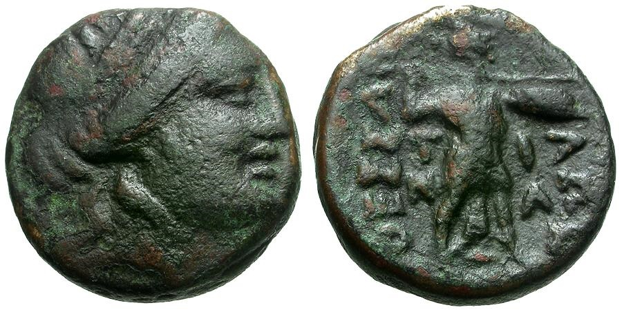Ancient Coins - Thessaly.  Thessalian League Æ18 / Apollo and Athena