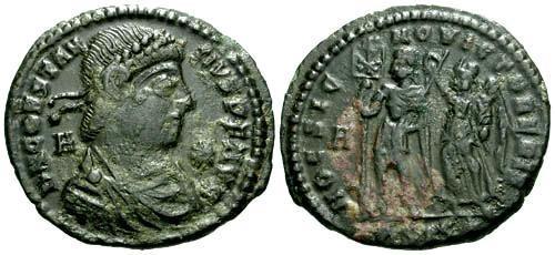 Ancient Coins - VF/VF Constantius II AE Centenionalis / Hoc Signo