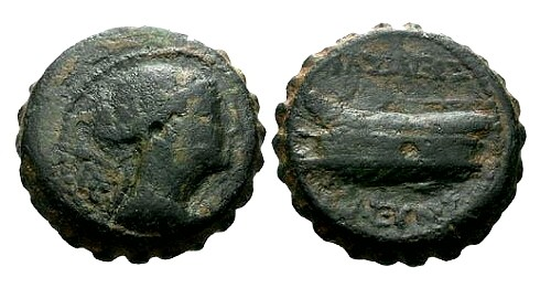 Ancient Coins - Kings of Syria Seleucus IV AE19 / Dionysos and Prow