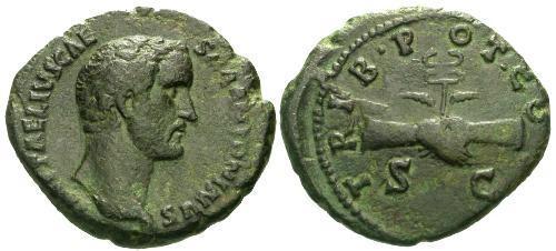 Ancient Coins - VF/VF Antoninus Pius AS / Very Rare Caesar Issue / Clasped hands