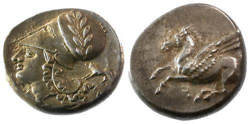 Ancient Coins - VF/EF Corinthia Corinth AR Stater Boar symbol