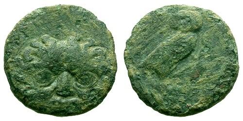 Ancient Coins - gF/aF Sicily Kamarina AE Onkia / Gorgon / Owl
