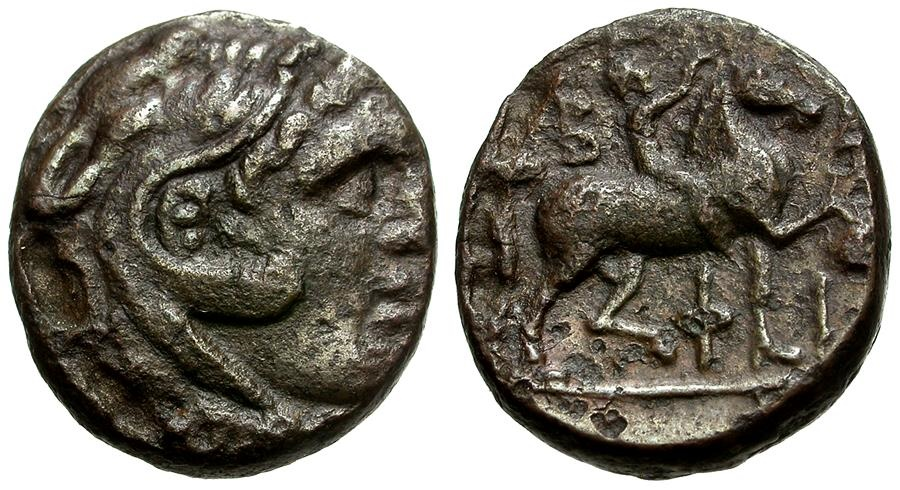 Ancient Coins - Kings of Macedon.  Philip V Æ17 / Youth on Horseback