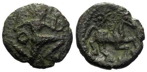 Ancient Coins - VF/VF Bellovaci AE14 / Running Cubist & Horse