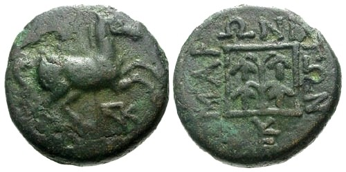 Ancient Coins - aVF/aVF Thrace Maroneia AE15 / Horse / Vine within square