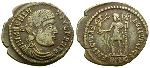Ancient Coins - VF/VF Magnentius Imitative AE Centenionalis / Emperor standing