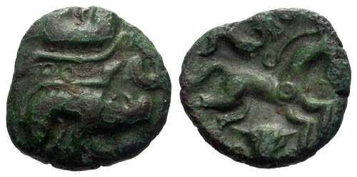 Ancient Coins - VF/VF Ambiani Bronze / Boar & Horse