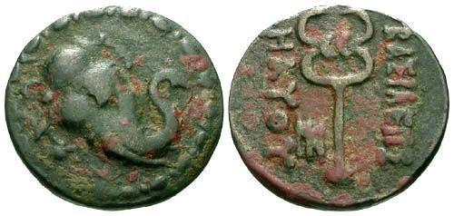 Ancient Coins - VF/aVF Graeco-Bactrian Kings Maues AE26 / Elephant