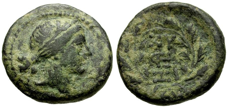 Ancient Coins - Mysia.  Kyzikos Æ19 / Persephone and Wreath