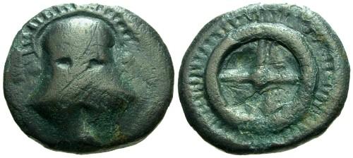 Ancient Coins - gF/gF Thrace Mesembria AE18 / Helmet