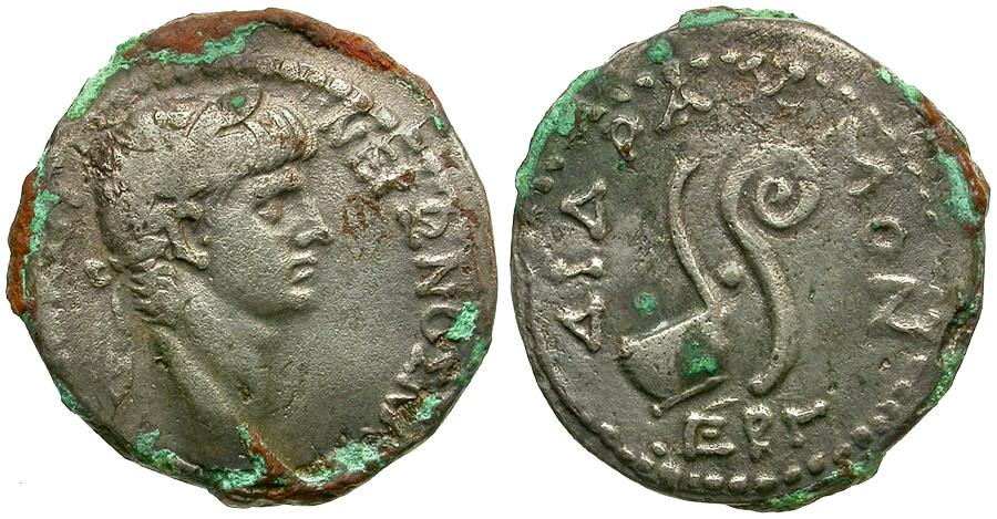 Ancient Coins - Nero (AD 54-68). Seleucis and Pieria. Antioch ad Orontem Billon Didrachm / Simpulum and Lituus