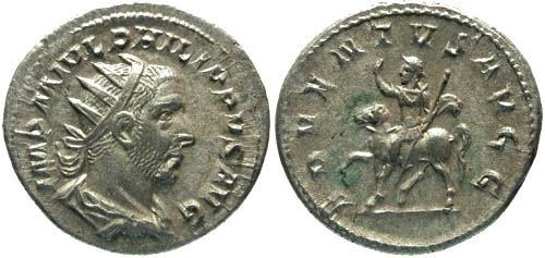 Ancient Coins - EF/VF Philip I AR Antoninianus / Philip on Horseback