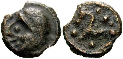 Ancient Coins - VF/VF Scarce Senones Potin / Bizarre Big Nose Bust