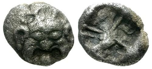 Ancient Coins - VF/VF Mysia Parium AR Drachm / Archaic Gorgon