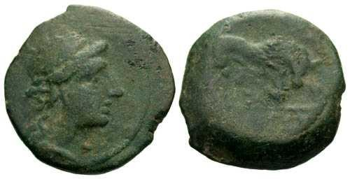 Ancient Coins - VF/aVF AE 14 of Massalia Gaul / Bull