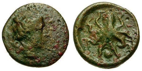 Ancient Coins - aVF/VF Sicily Syracuse Æ Onkia / Octopus