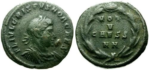 Ancient Coins - VF/VF Crispus AE Fractional / VOT V CAESS NN in Wreath RRRRR