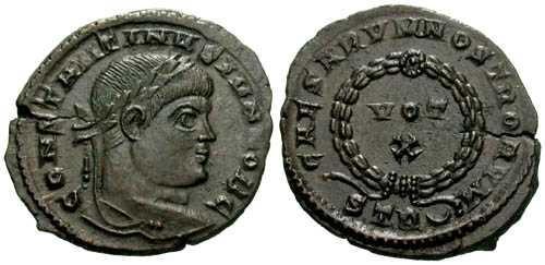 Ancient Coins - EF/EF Constantine II AE3 / VOT X