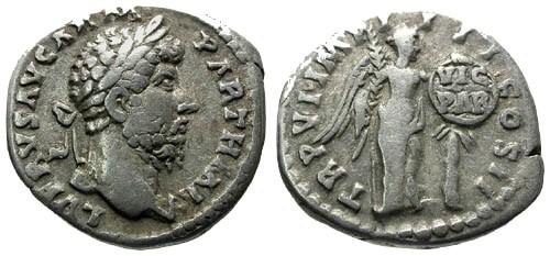 Ancient Coins - VF/aVF Lucius Verus AR Denarius / Victory