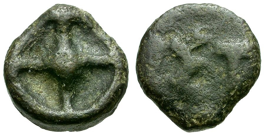 Ancient Coins - Moesia.  Istros, Cast Æ10 / Wheel